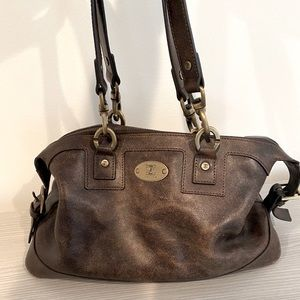 CELINE brown distressed leather shoulder bag